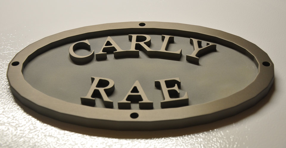 Anodized engraved plaque for saltwater craft.